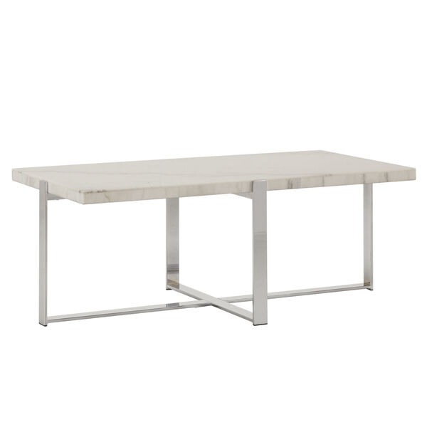 Diana Chrome Marble Top Framed Cocktail Table, image 1